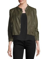 Cropped lamb leather moto jacket olive medium 1161514
