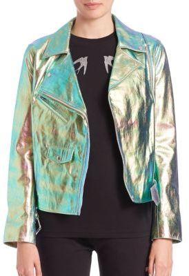3a02480d8a804 ... McQ by Alexander McQueen Mcq Alexander Mcqueen Metallic Foil Leather  Biker Jacket ...