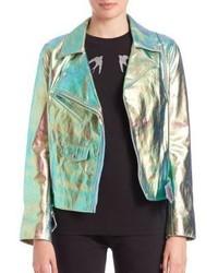 McQ by Alexander McQueen Mcq Alexander Mcqueen Metallic Foil Leather Biker Jacket