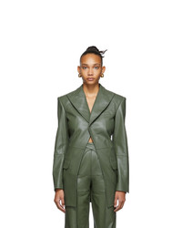 Situationist Green Leather Blazer