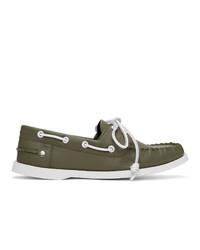 Loewe Khaki Calfskin Boat Shoes