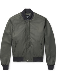 Olive Leather Bomber Jacket