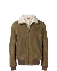 Closed Shearling Collar Bomber Jacket
