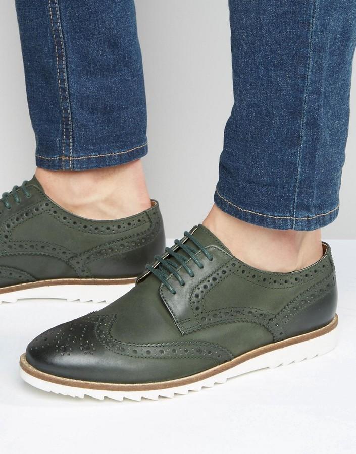Asos Brand Brogue Shoes In Khaki