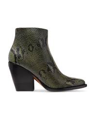 Chloé Rylee Snake Effect Leather Ankle Boots