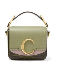 Chloé C Mini Color Block Lizard Effect Leather Shoulder Bag