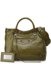 Balenciaga Classic Velo Lambskin Crossbody Bag Olive Green