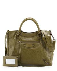 Balenciaga Classic Velo Lambskin Crossbody Bag Olive