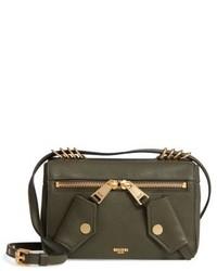 Moschino Grainy B Leather Crossbody Bag Green