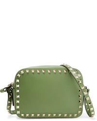 Valentino The Rockstud Leather Shoulder Bag Leaf Green