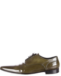 Olive Leather Derby Shoes