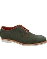 Baton Rouge Olive Leatherolive Lintex Lace Up Shoes