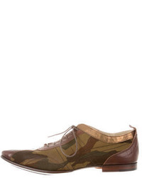 Yohji Yamamoto Camouflage Leather Trimmed Derbies
