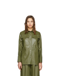 Aeron Green Faux Leather Blanche Shirt