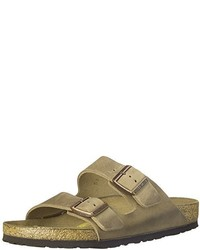 Olive Leather Flat Sandals