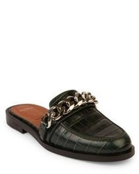 Givenchy Chain Croc Embossed Leather Loafer Slides
