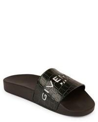 Givenchy Logo Croc Embossed Leather Slides