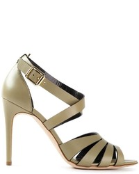 Olive Leather Heeled Sandals