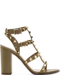 Valentino Army Green Rockstud City Sandals