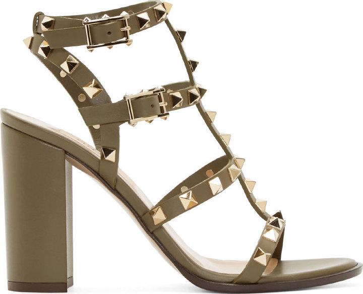 9f74e0910c9 ... Heeled Sandals Valentino Army Green Rockstud City Sandals ...