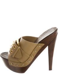 Burberry Leather Embellished Platform Sandals