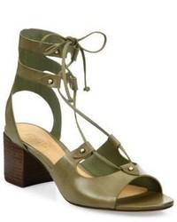 Monik leather lace up block heel sandals medium 3669702