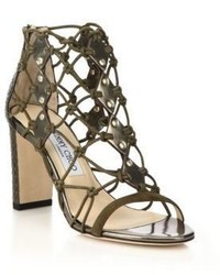 Jimmy Choo Tickle Leather Elaphe Netted Cage Sandals