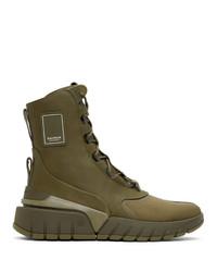 Balmain Khaki B Army High Top Sneakers