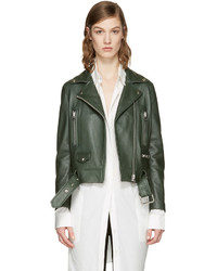 Green leather mock jacket medium 3657447