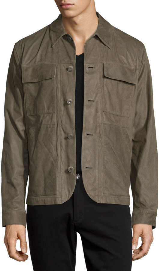 Helmut Lang Leather Utility Shirt Jacket Olive Where To Buy How