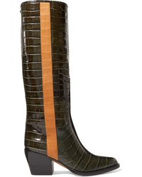 Chloé Vinny Croc Effect Leather Knee Boots
