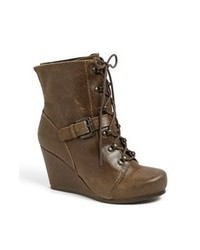 Olive Leather Lace-up Ankle Boots