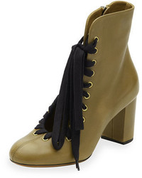 Chloé Chloe Lace Up Leather Ankle Boot