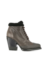 Chloé Lace Up Shearling Boots