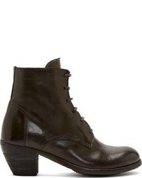 Officine Creative Green Leather Ignis Ankle Boots