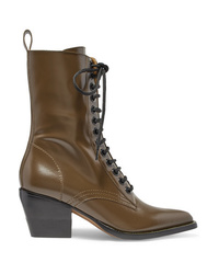 Chloé Rylee Glossed Leather Ankle Boots