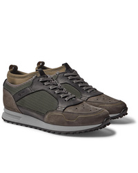 Dunhill Radial Runner Neoprene And Leather Trimmed Suede And Mesh Sneakers