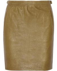 Olive Leather Mini Skirt