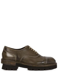 Olive Leather Oxford Shoes