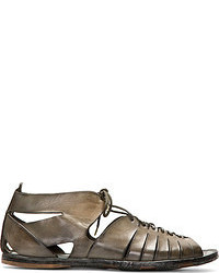 Alexander McQueen Olive Drab Leather Mid Top Lace Up Sandals