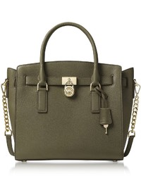 Michl kors hamilton large olive green pebbled leather satchel bag medium 6860870