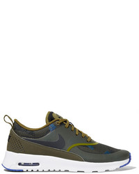 Nike Air Max Thea Leather And Jacquard Sneakers Army Green