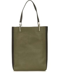 Topshop Drake Two Tone Faux Leather Shopper Green