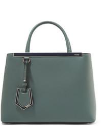 Fendi 2jours Petite Leather Shopper Gray Green