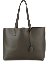 Saint Laurent Large Khaki Leather Shopper Tote Bag