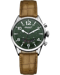 Ingersoll Compton Green Dial Brown Leather Strap Chronograph Watch