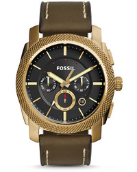 Fossil Machine Chronograph Olive Leather Watch
