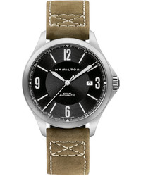 Hamilton Watch Swiss Automatic Khaki Aviation Olive Leather Strap 42mm H76665835