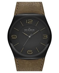 Skagen Studio Round Leather Strap Watch 42mm Green Black