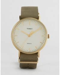 Timex Weekender Fairfield 41mm Leather Watch In Green